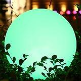 Lámpara Bola LED Exteriores de Carga Solar RGB, Bola de Luz Nocturna Multicolor Regulable 16 Colores, Lámpara de 1200mAh para Decoración Estanque Jardín Patio Césped Trasero, Impermeable 30cm