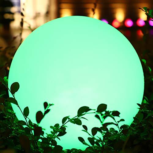 LED Solarlampe Außen RGB Garten Kugellampe Große Größe 30cm, Dimmbar Solarleuchten Bunt 16 Farben Nachtlicht, 1200mAh Rasenlampe Boden Terrassenlicht für Patio Hinterhof Balkon Dekoration Wasserdicht