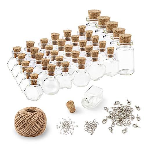 PandaHall 1 juego de botellas de corcho de vidrio con cierre de langosta, ganchos de rosca, anillo de salto y cuerda de cáñamo para manualidades decoración