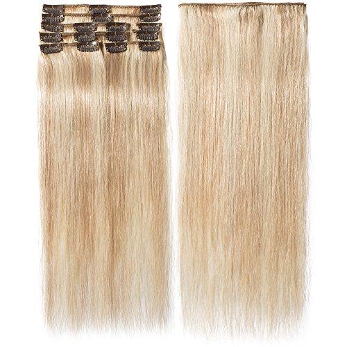 Extension Clip Capelli Veri Remy Human Hair Mèches 8 Fasce Lisci Lunga 40cm Pesa 65grammi, 18/613 Biondo Cenere/Biondo Chiarissimo