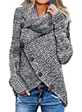 Itsmode Ladies Chunky Turtle Cowl Neck Knit Wrap Asymmetric Hem Button Plus Size Casual Cardigan Sweaters for Women Fall Pullover 1X Gray