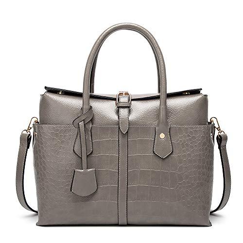 DONYKARRY Große Handtasche aus Leder für Damen, große Kapazität, Schultertasche, Brieftasche, Handtasche, Rucksack, Handtasche, Handtaschen, Handtaschen, Grau - grau - Größe: 33cm L x 14cm W x 26cm H