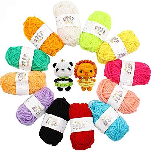 Hilo Acrílico Liuer Ovillos de Lana de Lanas de Hilo lana Hilados Madejas Acrílicos Perfecto para DIY y Tejer a Mano Proyecto de Ganchillo(30g X 12 Colores)