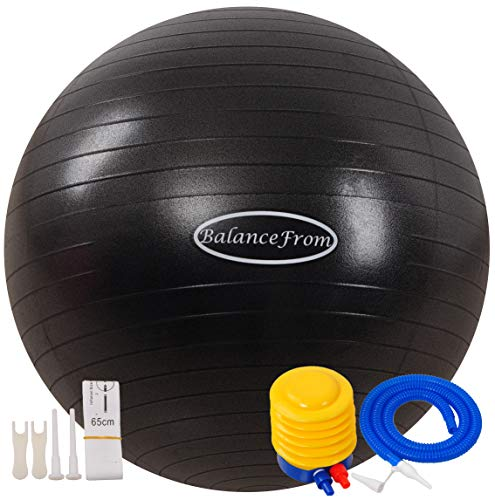 BalanceFrom Anti-Burst and Slip Resistant Exercise Ball Yoga Ball Fitness Ball Birthing Ball with Quick Pump, 2,000-Pound Capacity, 38-45cm, S, Black