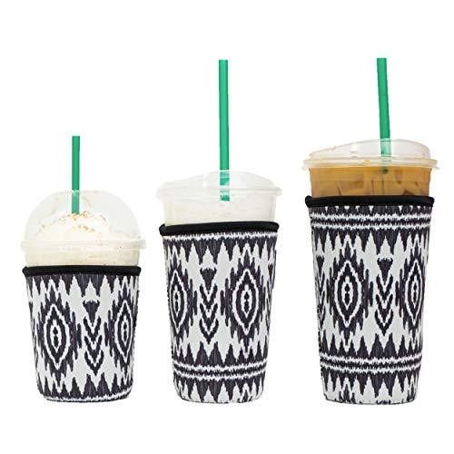 Wiederverwendbare, isolierte Neopren-Hülle für Eiskaffee, Getränkehalter für kalte Getränke, für Starbucks Kaffee, McDonalds, Dunkin Donuts, Tim Hortons und mehr (3 PK Sm-Med-Lg, Azteken)