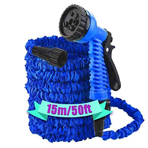 HOUSE DAY 15m Tubo flexible de manguera, Tubo de manguera de agua de jardín extensible ligero 7 Patrones de pulverización - azul