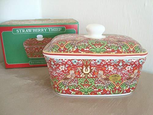 William Morris - Mantequilla con tapa de cerámica para ladrón de fresas, color rojo