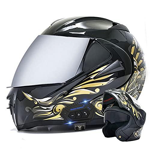 RTGE Casco Modular abatible para Motocicleta con Bluetooth certificación ECE/Dot Cascos de Moto Integral para Adultos con Película antivaho de Doble Lente (Ángel Amarillo Mate),E,57~58cm M