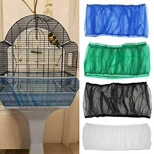 TEQIN 4 fundas para jaula de pájaros, malla para pájaros, faldas, atrapasueños de semillas, malla de nailon, 4 colores pequeños