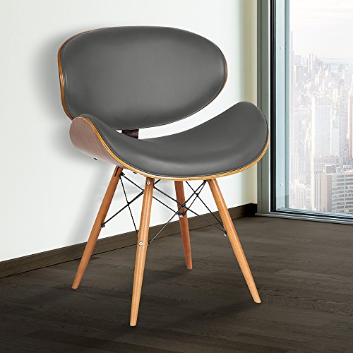 Armen Living Cassie Dining Chair in Grey Faux Leather and Walnut Wood Finish