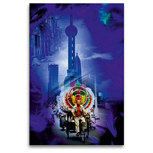 CALVENDO Premium Textil-Leinwand 80 x 120 cm Hoch-Format Shanghai Pearl Tower, Leinwanddruck von Walter Zettl