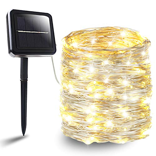 BHCLIGHT Solar String Lights, 200 LED Silver Wire Lights 8 Modes Solar Fairy...