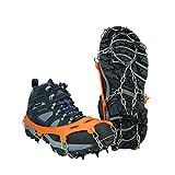 Tentock Crampones de Hielo Antideslizantes de 12 Dientes para Trekking, Crampones de Nieve de Acero Inoxidable, Tracción de Hielo para Botas(8...