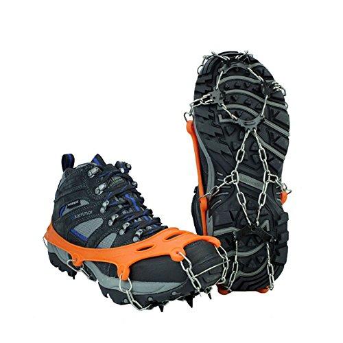 Tentock Crampones de Hielo Antideslizantes de 12 Dientes para Trekking, Crampones de Nieve de Acero Inoxidable, Tracción de Hielo para Botas(8 Dientes)