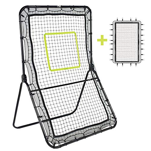Victorem Lacrosse Rebounder - 6x3.5 Ft. Bounce Back, Pitch Back Rebounder for Lacrosse, Baseball and Softball Training with Extra Net