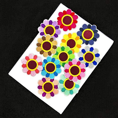 Patch Sticker,Parche termoadhesivo,Aplique de bordado adecuado para sombreros, chaquetas, abrigos, camisetas, pequeña combinación de crisantemo 12 piezas