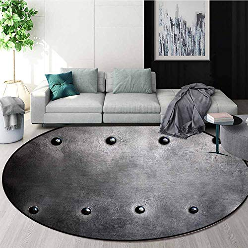 Cheapest Prices! Industrial Modern Machine Washable Round Bath Mat,Black Grunge Plate Armour Digital...