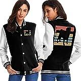 BYYKK Chaquetas Ropa Deportiva Abrigos, Vintage Pug Vector Women's Long Sleeve Baseball Jacket Baseball Jacket Uniform
