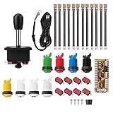 Arcade Games DIY Parts Accessories Kit with 1 Arcade Joystick + Zero Delay USB Encoders + 8 Arcade Buttons (1P...