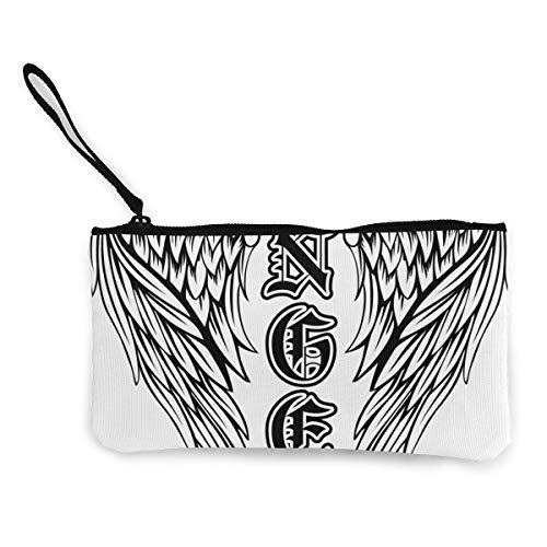 Architd vleugels engel in de gotische stijl munten portemonnee make-up tas met rits polsband reis cosmetische tas voor vrouwen meisje aangepast