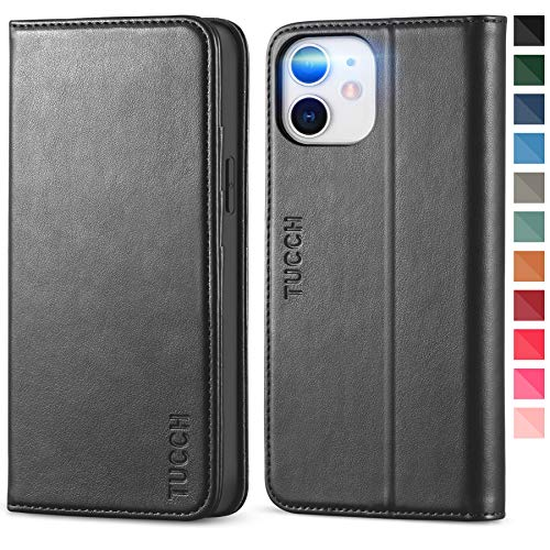 TUCCH Wallet Case for iPhone 12 Mini 5G, Premium PU Leather Flip Folio Wallet Case with Card Slot, Kickstand, Book Design [Shockproof TPU Interior Case] Compatible with iPhone 12 Mini 5.4-inch, Black