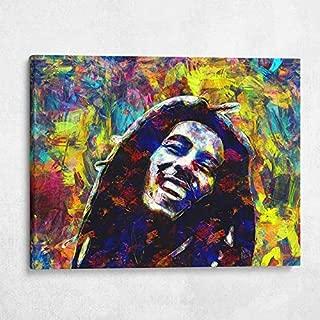 Gallery Farm | Bob Marley Acrylic Style Pop Art | 1.5 Inch Thick Gallery Canvas Print, Wall Art (40x30)