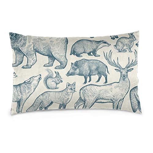 iksrgfvb Pillowcases 16X24inch Deer, Wolf, Fox, Boar, Squirrel, Bear, Hare, Hedgehog And Badger Throw Pillow Covers Sofa Car Cushion Cover Home Decorative 40X60CM