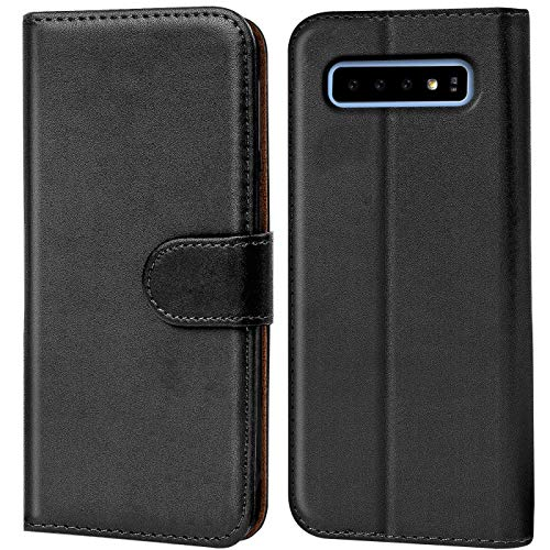 Verco Galaxy S10 Hülle, Handyhülle für Samsung Galaxy S10 Tasche PU Leder Flip Hülle Brieftasche - Schwarz
