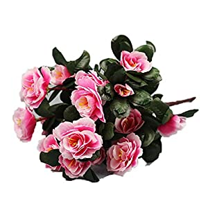Gokeop 13-Inch Rhododendron Artificial Flower, 7 Heads DIY Fake Flowers for Home Decor Indoor and Wedding, 33cm Retro Style Natural Simulated Flowers for Festivals and Cemetery, Pink