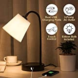 Lifeholder Touch Lamp with Flexible Gooseneck, 3 Way Dimmable USB Lamp Include A Warm White Edison Bulb, Bedside Lamp Built in 2 USB Ports & One AC Outlet, Table Lamps Idea for Bedroom or Living Room