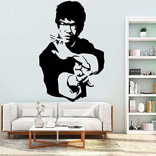 Chino Kongfu Legend Bruce Lee Jeet Kune Do GYM Boxeo Club de artes marciales Vinilo Etiqueta de la pared Calcomanía del coche Ventiladores para niños Dormitorio Sala de estar Decoración para