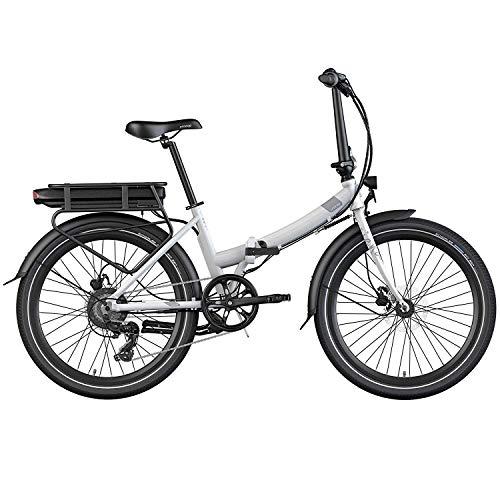 Legend Siena Vélo Électrique Pliable de Ville Smart eBike Roues de 24 Pouces, Freins Disque Hydraulique, Batterie 36V 10.4Ah Sanyo-Panasonic (374.4Wh), Blanc Artic
