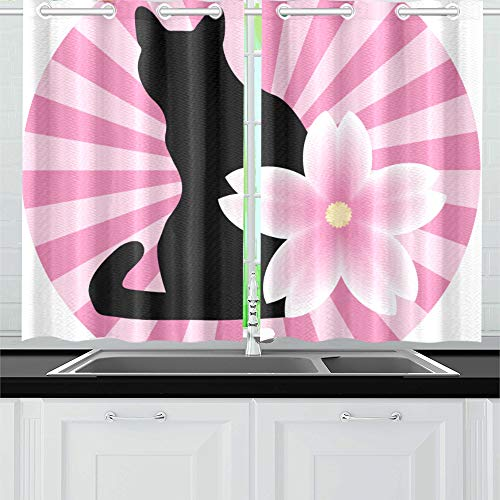 "Kitchen Curtains Asian Style Cat Silhouette Sakura Window Drapes 2 Panel Set for Kitchen Cafe Decor, 52"" X 39"", Best Window Curtains"