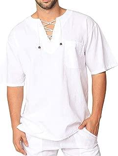 Mens Summer t Shirts Short Sleeve,Tronet Men's Autumn Winter Vintage Casual Linen Lace Short Sleeve T-Shirt Top Blouse