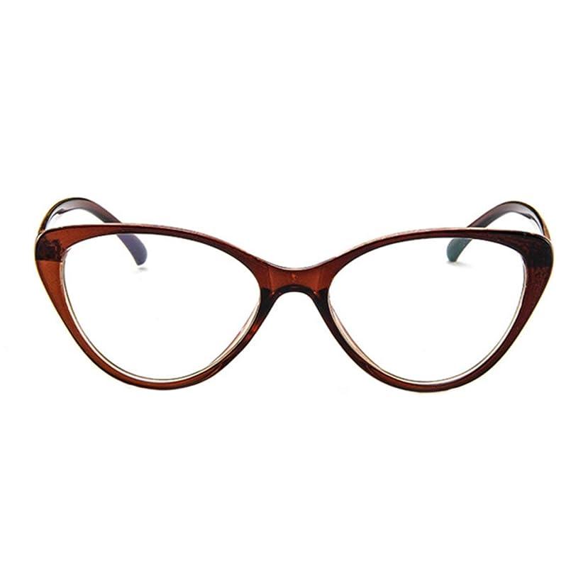 よく話されるフクロウ意欲レトロメガネフレームパーソナリティファッションメガネユーロアメリカンキャットアイメガネフレーム近視フレームレンズ-ダークブラウン