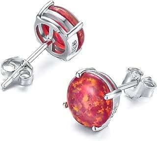 925 Sterling Silver Round Cut Opal Stud Earrings Gift for women 7.5MM