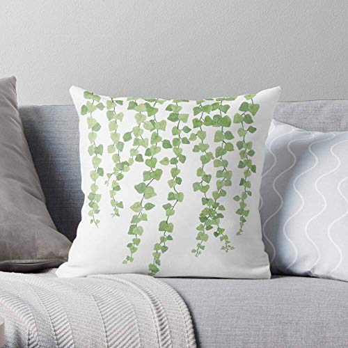 XCNGG Art Wall Watercolour Plant Lecia Million Hearts Green Botanical - Pillow Case Cotton Polyester - Indoor Decorative Pillow Square Cushion Cover for Bedroom Sofa Living Room