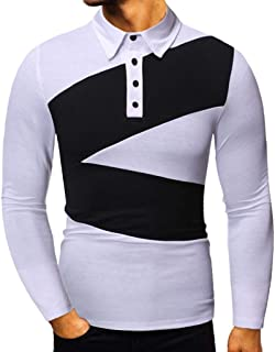 Men Shirts Long Sleeve Splice Color Printing Casual Fashion Pullover Tops Crew Neck Sweatshirts