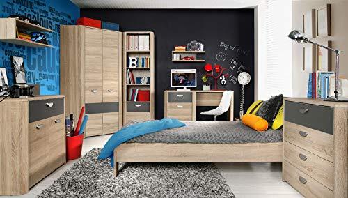 furniture24_eu Jugendzimmer Set YOOP Eckschrank Bett Schreibtisch Kommode Regal Hängeregal (Bett ohne Latterost/Matratze)