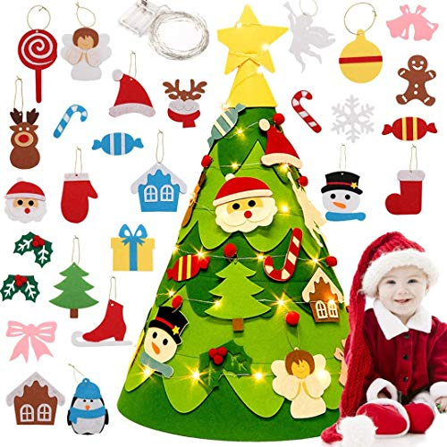 Wuudi Filz Weihnachtsbaum,DIY Weihnachtsbaum mit 3M LED-Leuchten für Weihnachten, Kinder, Geschenke, Heimdekorationen