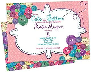 cute as a button 1st birthday invitations