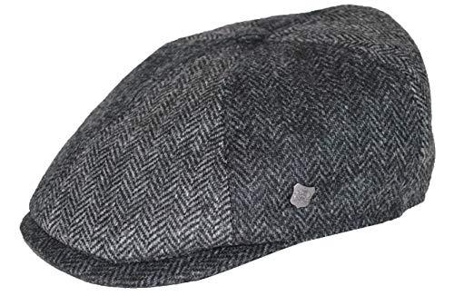 Failsworth Gorra Newsboy Hoxton Lana diseño Espiga Gris-Antracita