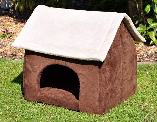 nanook Hunde-Höhle Hunde-Haus COSY für große Hunde XL und XXL, Wildleder-Optik, braun grau, Indoor - 3