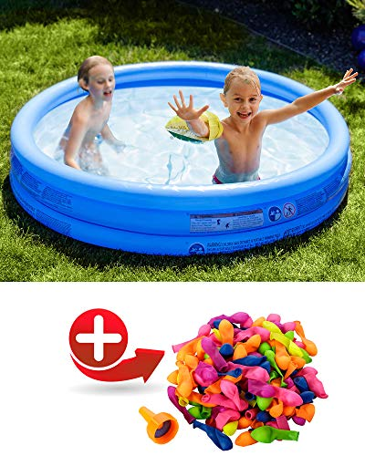 Shopping Hero Planschbecken 122x25cm von Bestway, 3 aufblasbare Ringe, für Kinder ab 2 Jahren , inkl. 100 selbstschließenden Wasserbomben, weicher Boden, für Garten, Balkon, Terrasse (Blau)