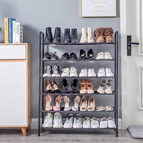 UDEAR - Caja de almacenamiento para zapatos de pie, color negro, 6 capas