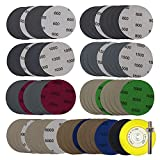 3 Inch Sandpaper, High Performance Heavy Duty Silicon Carbide Wet/Dry Hook & Loop Sanding Discs, Grits Grinding Abrasive Sanding Disc with 1/4 inch Shank Sanding Pad for Wood Metal Polishing (80P)