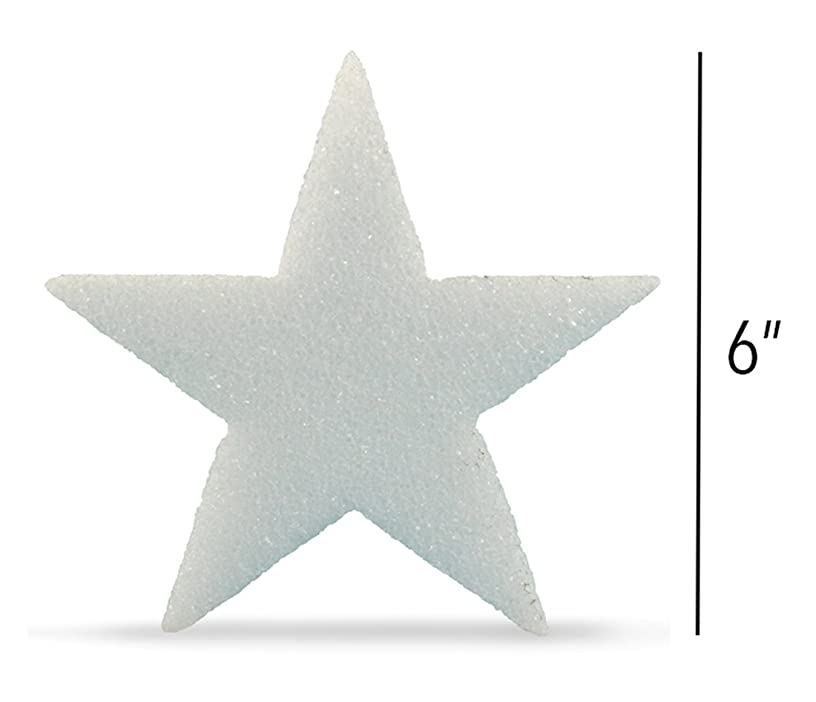 Hygloss Styrofoam Stars for Crafts and Decoration 6 Inches x ?? inch Thick, White, 12 Pieces, 6