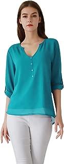 YMING Women's Casual Chiffon Blouse Button Down Tops 3/4 Sleeve V Neck Shirt