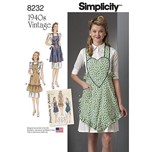 Simplicity Muster 8232–1940's Vintage Schürzen, weiß