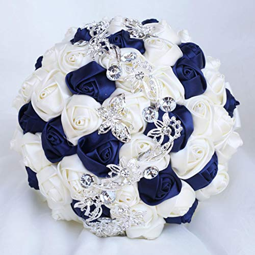 Silver Black Satin Roses Flowers Wedding Bouquet Crystal Brooch Bridal Artificial Flowers Holding Bouquet